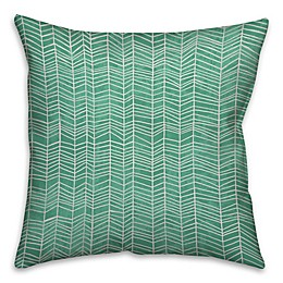 Neutral Zig-Zag Throw Pillow in Green/White
