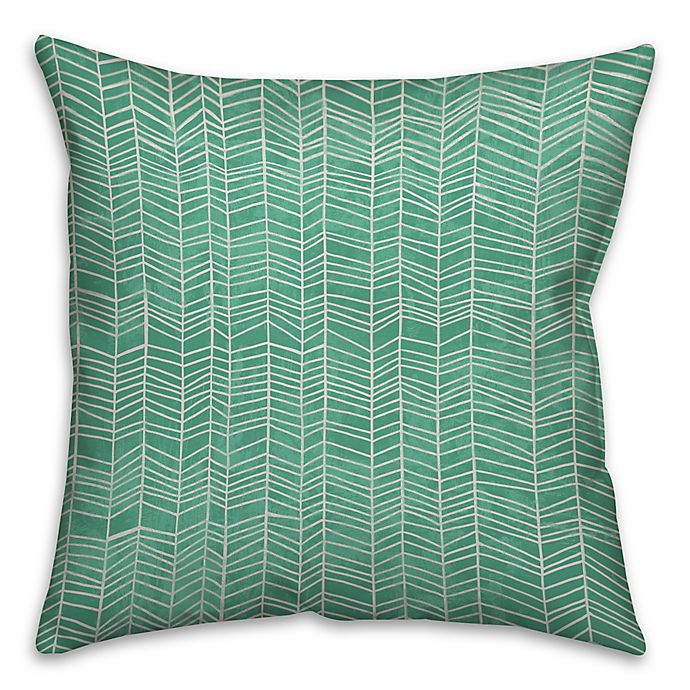 Alternate image 1 for Neutral Zig-Zag 16-Inch Square Throw Pillow in Green/White