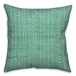 Neutral Zig-Zag Throw Pillow in Green/White