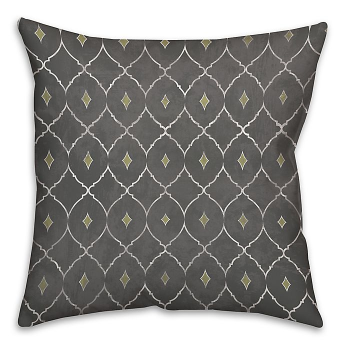 Alternate image 1 for Metallic Diamonds 18-Inch Square Throw Pillow in Grey/Green