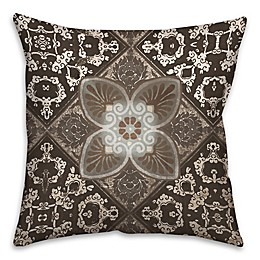 Taupe Tiles Throw Pillows in Brown