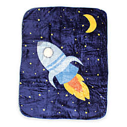 BabyVision® Luvable Friends® High Pile Spaceship Plush Blanket in Blue