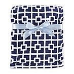 BabyVision® Luvable Friends® Trellis Coral Fleece Blanket in Navy