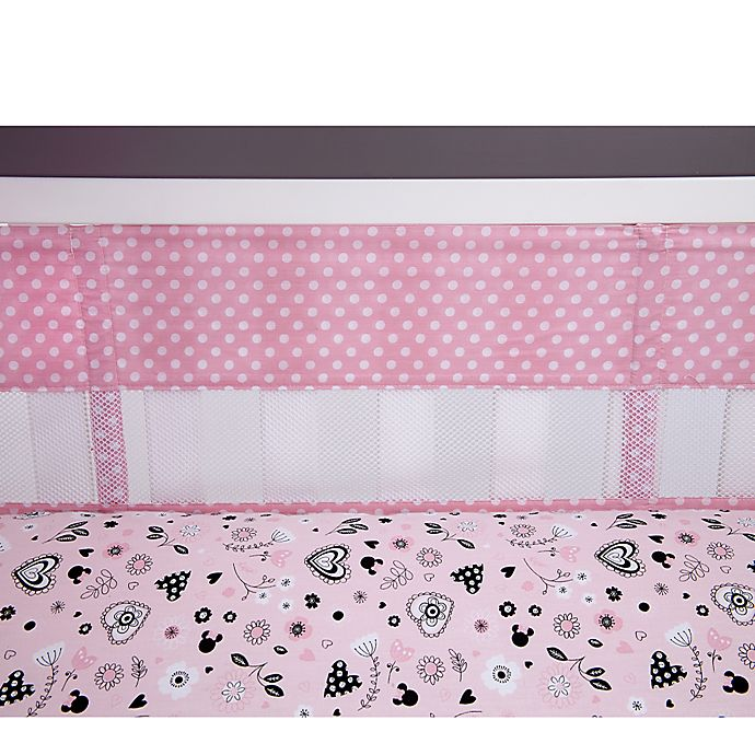 Alternate image 1 for Disney® Minnie Mouse Hello Gorgeous Secure-Me Mesh Crib Liner
