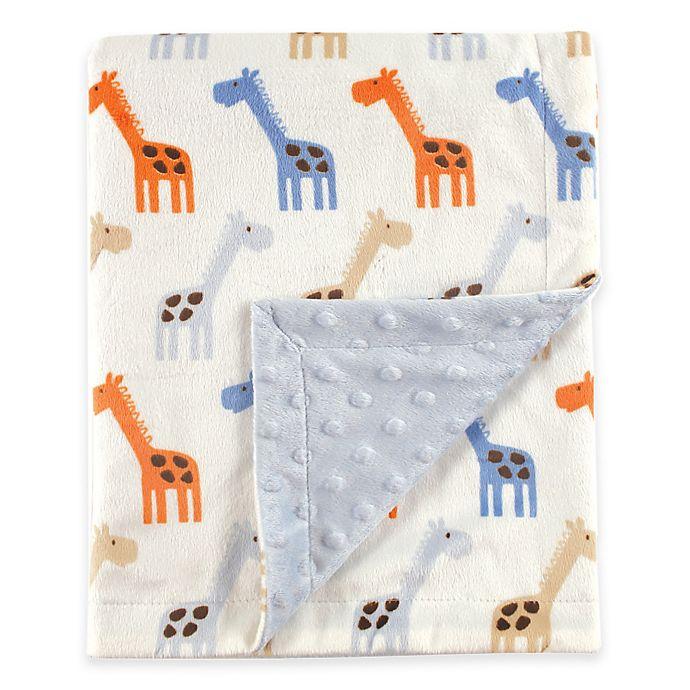 Alternate image 1 for BabyVision® Hudson Baby® Giraffe Mink Blanket in Blue