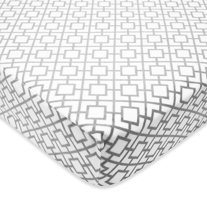 Alternate image 1 for TL Care® Heavenly Soft Chenille Lattice Print Fitted Crib Sheet in Grey