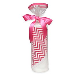 Raindrops 2-Piece Chevron Hooded Blanket Gift Set in Pink