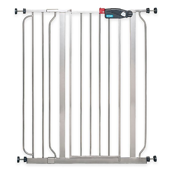 Alternate image 1 for Regalo® Easy-Step Extra-Tall Walk-Through Gate in Platinum