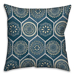The Vintage House Exotic Emblems Square Throw Pillow in Blue