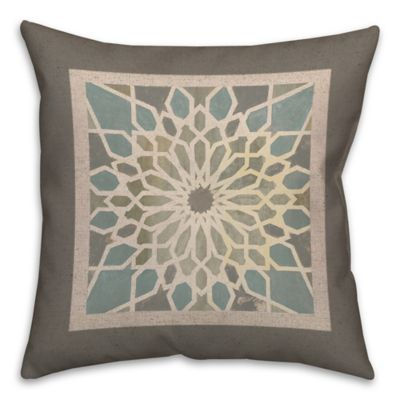 Grey Exotic Tile Square Throw Pillow in Brown/Blue | Bed Bath & Beyond