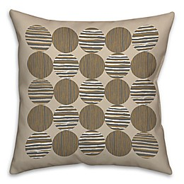 Geo Linen Circles Square Throw Pillow in Grey/Brown