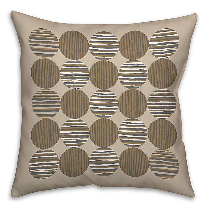 Geo Linen Circles Square Throw Pillow In Grey Brown Bed Bath Beyond