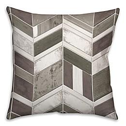 Chevron Wood Throw Pillow in Grey/White