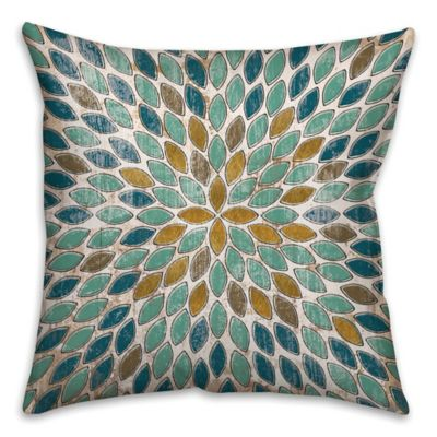 Leafies Square Throw Pillow in Blue/Gold | Bed Bath & Beyond