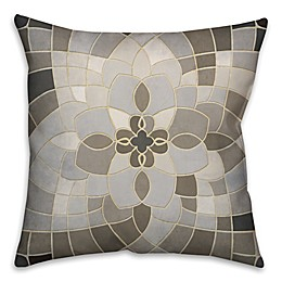 Greige Mosaic Square Throw Pillow in Grey/Beige