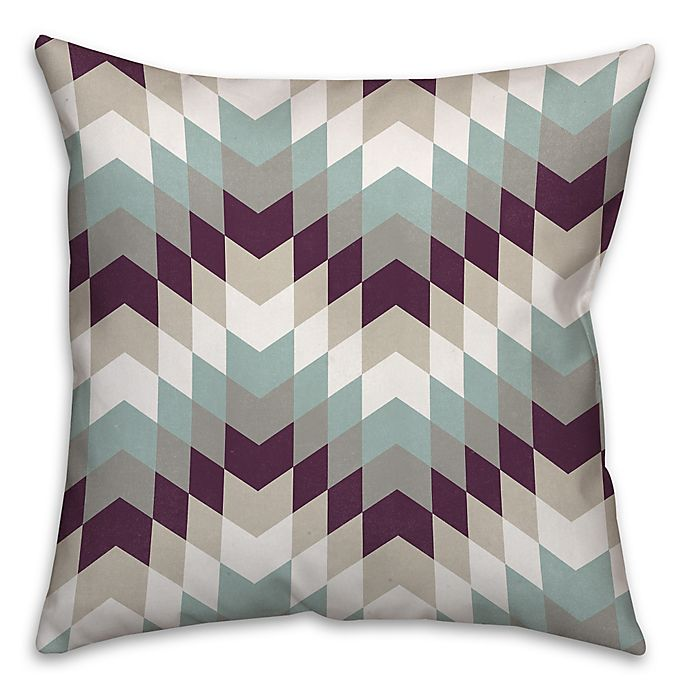 Alternate image 1 for Purple Tribal Geo 18-Inch Square Throw Pillow in White/Blue