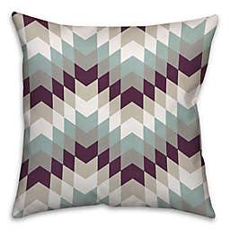 Purple Tribal Geo 16-Inch Square Throw Pillow in White/Blue