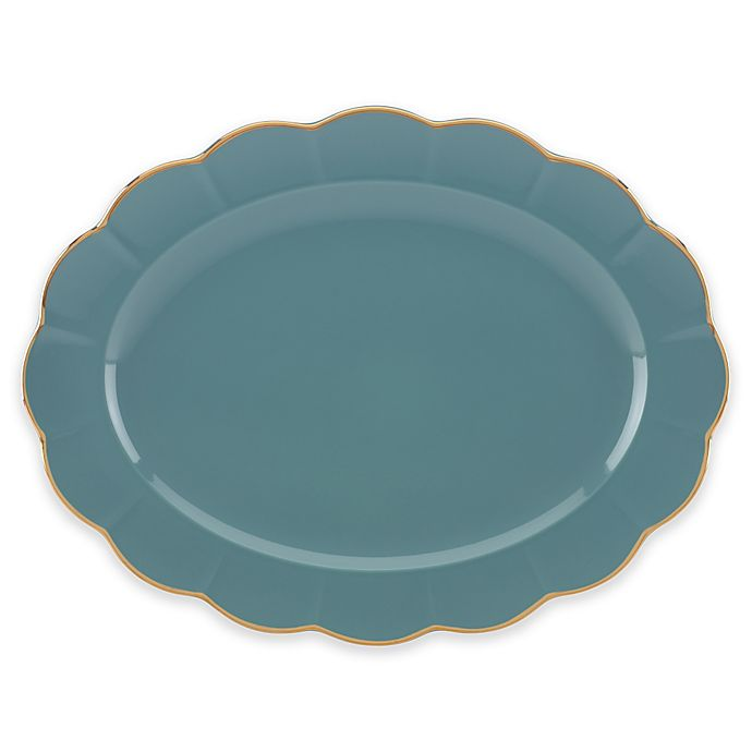 Alternate image 1 for Marchesa by Lenox® Shades of Teal 16-Inch Oval Platter