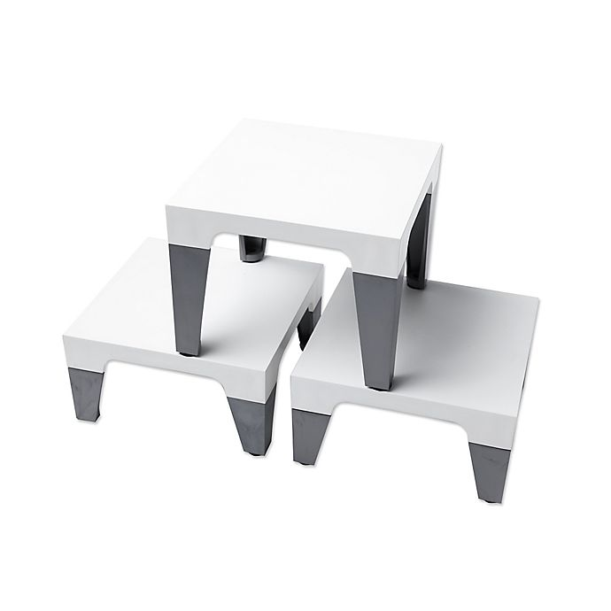 Alternate image 1 for Sterling Risers® Modern Tabletop Designs in White/Silver (Set of 3)