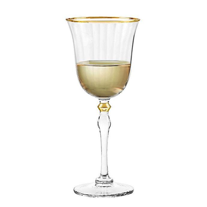 Alternate image 1 for Qualia Salem Wine Glasses in Gold (Set of 4)