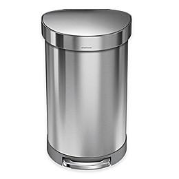 simplehuman® Stainless Steel 45-Liter Semi-Round Liner Rim Step Trash Can