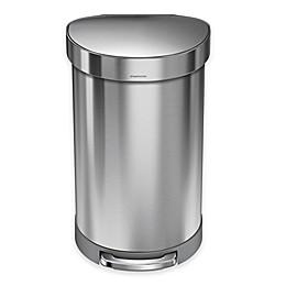 simplehuman® Stainless Steel 45-Liter Semi-Round Liner Rim Step Trash Can