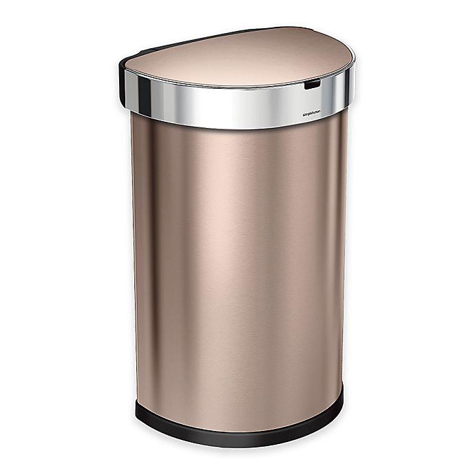 Alternate image 1 for simplehuman® Fingerprint-Proof 45-Liter Semi-Round Sensor Trash Can in Rose Gold