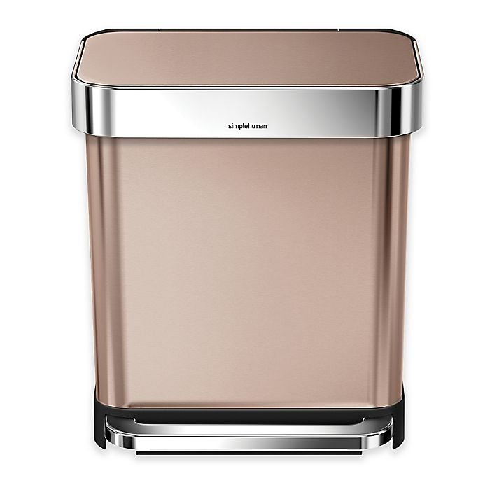 Alternate image 1 for simplehuman® 30-Liter Stainless Steel Rectangular Step Trash Can with Liner Pocket in Rose Gold