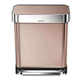 simplehuman® 30-Liter Stainless Steel Rectangular Step Trash Can with Liner Pocket in Rose Gold