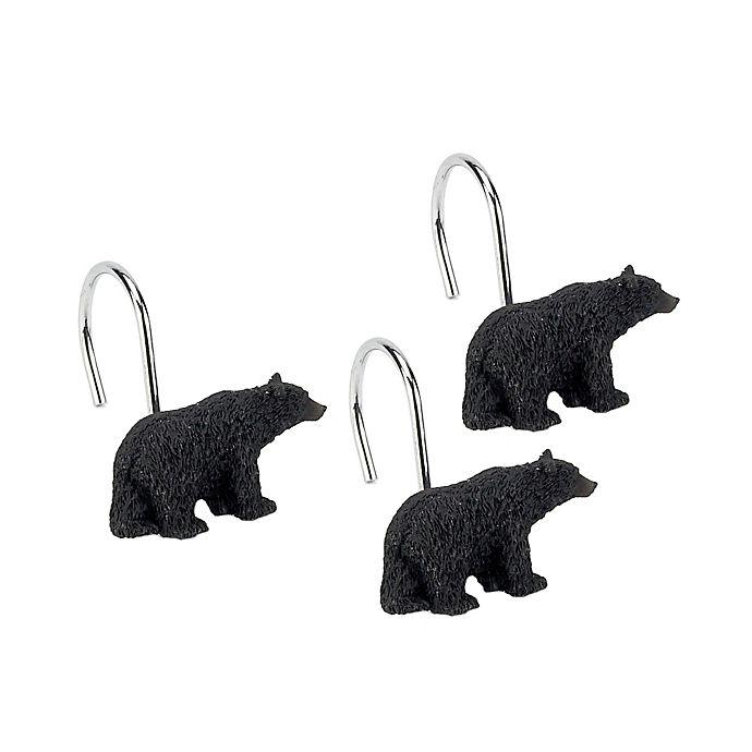 Alternate image 1 for Avanti Black Bear Lodge Bath Shower Curtain Hooks (Set of 12)