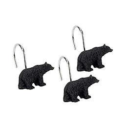 Avanti Black Bear Lodge Bath Shower Curtain Hooks (Set of 12)