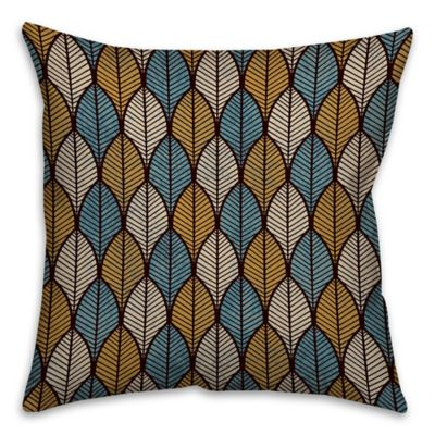 Leaf Print Throw Pillow In Gold Blue Bed Bath Amp Beyond