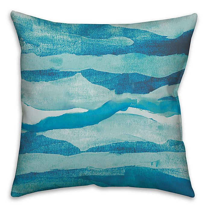 Alternate image 1 for Abstract Waves 16-Inch Square Throw Pillow in Blue