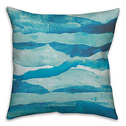 Abstract Waves Throw Pillow in Blue
