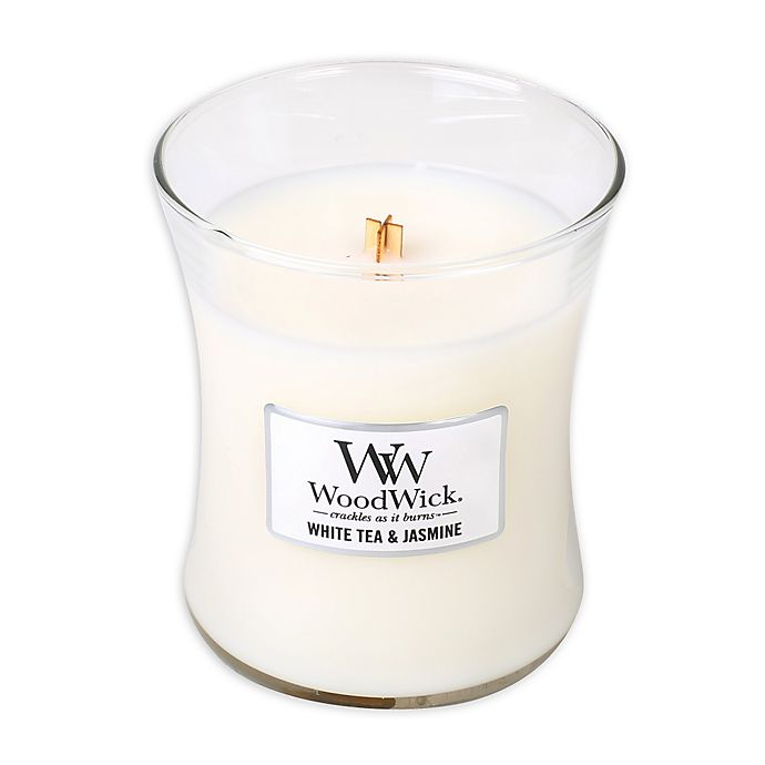 Alternate image 1 for WoodWick® White Tea & Jasmine 10 oz. Jar Candle