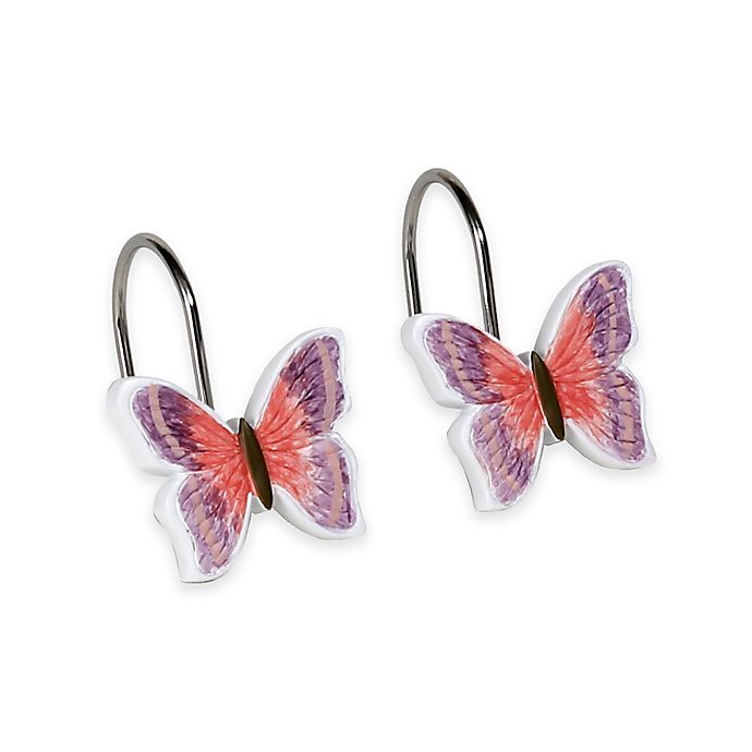 Rainbow Butterfly Shower Curtain Hooks Set Of 12