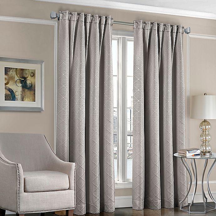 Alternate image 1 for Designers' Select™ Satin Diamond 95-Inch Rod Pocket/Back Tab Window Curtain Panel in Grey