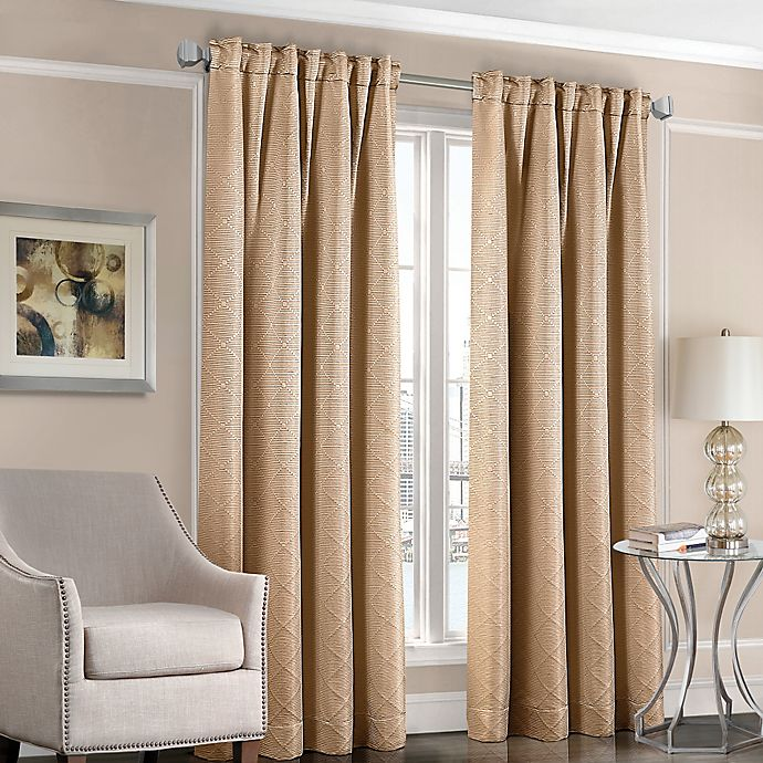 Alternate image 1 for Designers' Select™ Satin Diamond 108-Inch Rod Pocket/Back Tab Window Curtain Panel in Gold