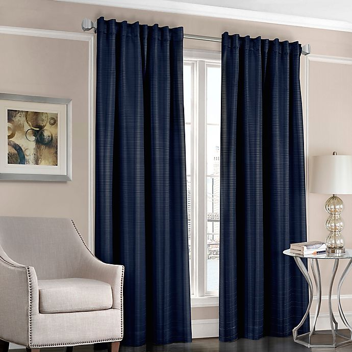 Alternate image 1 for Designers' Select™ Satin Stripe 63-Inch Rod Pocket/Back Tab Window Curtain Panel in Navy
