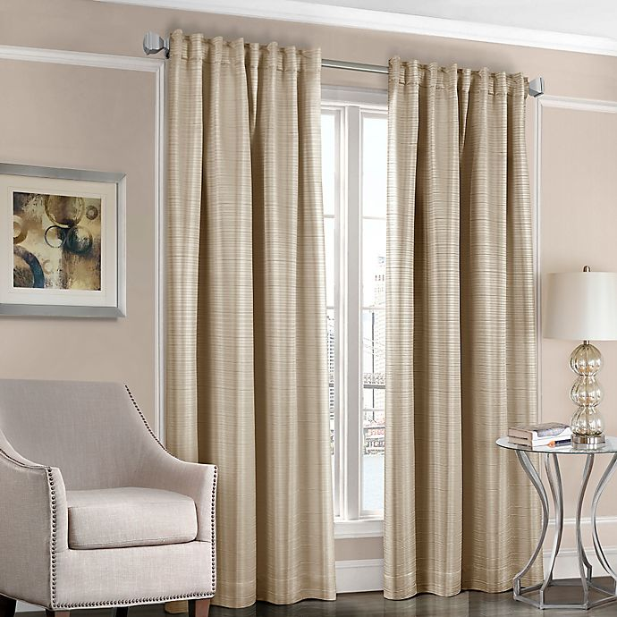 Alternate image 1 for Designers' Select™ Satin Stripe 108-Inch Rod Pocket/Back Tab Window Curtain Panel in Taupe