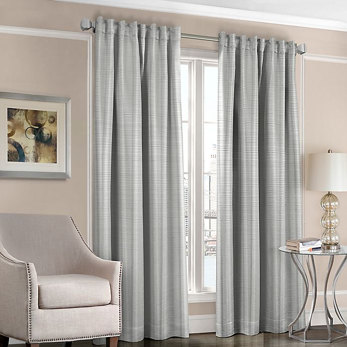 Alternate image 1 for Designers' Select™ Satin Stripe 63-Inch Rod Pocket/Back Tab Window Curtain Panel in Blue