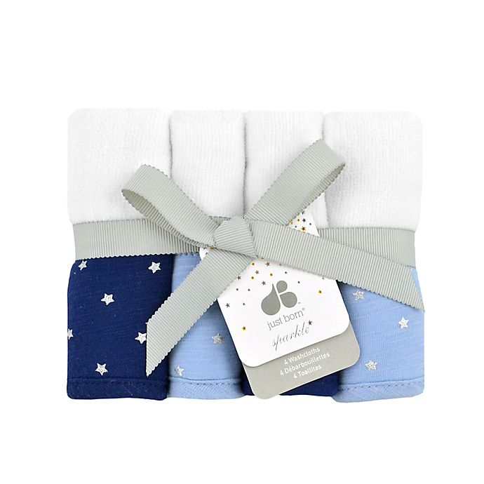 Alternate image 1 for Just Born® Sparkle 4-Pack  Washcloths in Navy