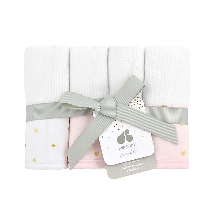 Alternate image 1 for Just Born® Sparkle 4-Pack Washcloths in Pink