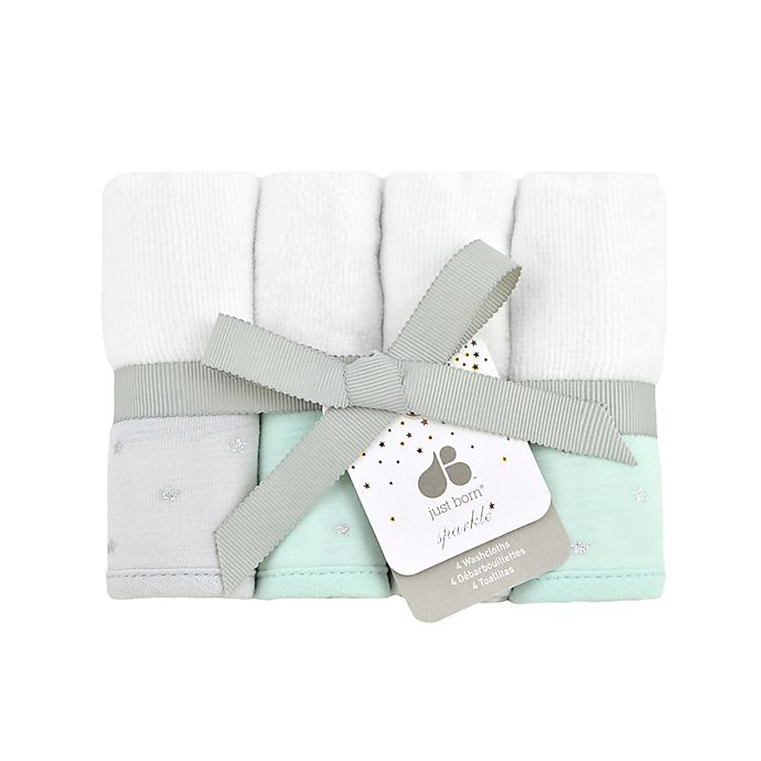 Alternate image 1 for Just Born Sparkle Washcloths 4-Pack in Mint Green