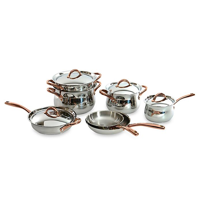 Alternate image 1 for BergHOFF® 11-Piece Ouro Cookware Set with Rose Gold Coated Handles