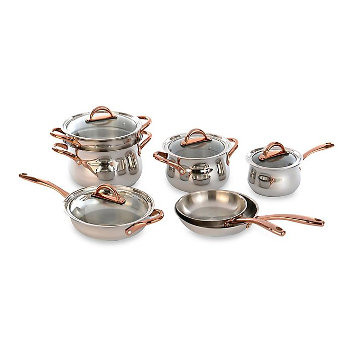 Alternate image 1 for BergHOFF® 11-Piece Ouro Cookware Set with Rose Gold Coated Handles and Glass Lids