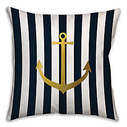Anchor of Gold Throw Pillow in Blue/Gold