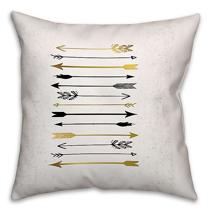 Alternate image 1 for Arrows Galore 18-Inch Square Throw Pillow in Black/Gold