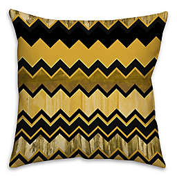 Chevron Stripe 16-Inch Square Throw Pillow in Black/Gold