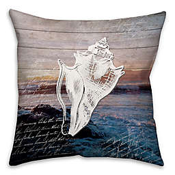Distressed Anchor Conch Square Throw Pillow in Blue